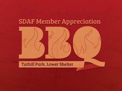 SDAF BBQ texture flames red typography