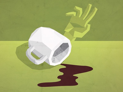 Soul Crushing illustration faceted spill hand coffee