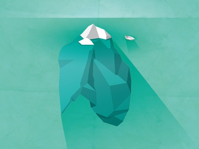 Beneath the Surface illustration faceted water boat ice burg