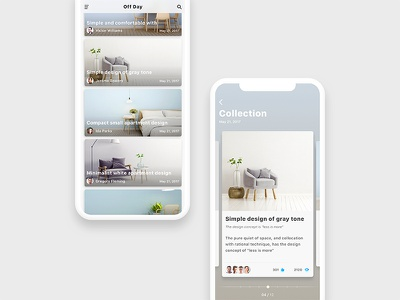 Furniture Magazine slide ux ui card tone gray ios11 magazine furniture