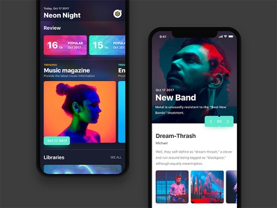 Entertainment Magazine music artist magazine mode night card ux ui ios11