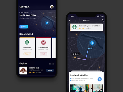 Looking For A Cafe navigation coffee dark line color map ui ux ios11