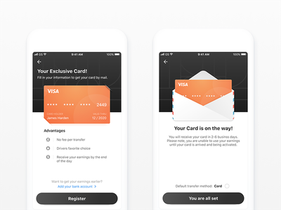 Recommended binding bank card/ Bank card delivery h5 financial ios send ux ui card bank