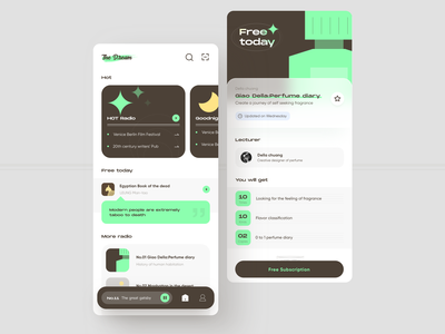 Literature Radio App green color culture radio ui app
