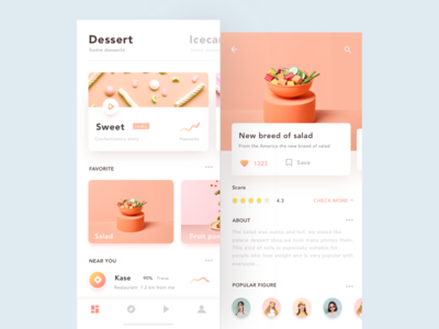 UI design exercises-Dessert ios11 color card time-tea orange iphonex interface layout app ui food dessert