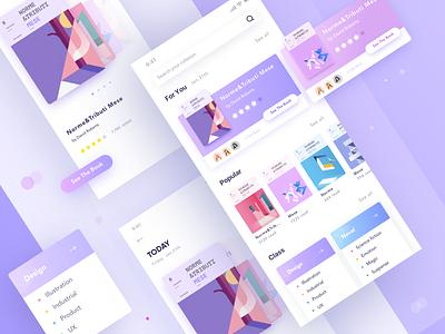 Reading App iphonex ios11 design layout purple app book reading