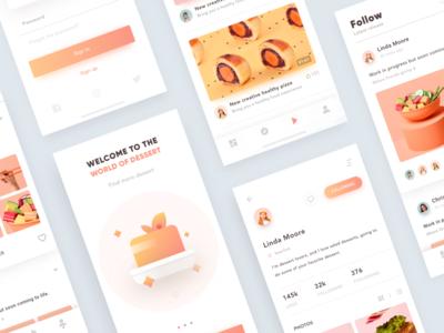 UI design exercises-Dessert-04 ui time-tea orange layout iphonex ios11 interface food dessert color card app