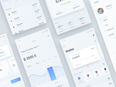 Finance &Wallet App_03 white wallet ui finance design data clean bitcoin bank app tags