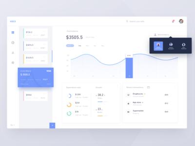 Dashboard VOCS white wallet ui finance design data clean card bank web dashboard