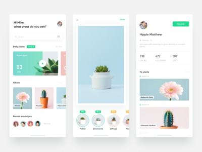 Find Green_Recognition plant APP fresh interface ui clean plant green app