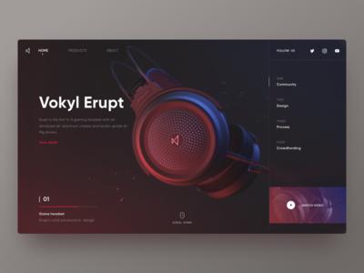 Vokyl Erupt brand brand black gaming headset web color red