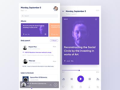 Online Speaking App layouts ui purple learning design speaking player layout clean app
