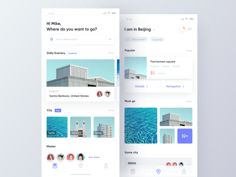 Travel App layout card design teavel blue clean ui app