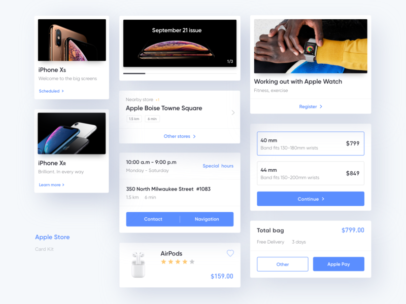Apple Store Redesign Kit redesign ios iphone xs card apple store white color layout clean ui app