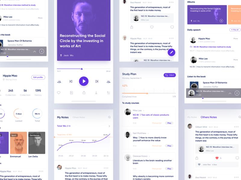 Online Speaking App_03 purple player speaking learning layout ui design app