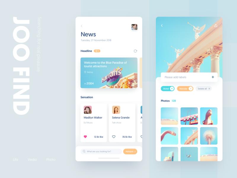 Joo Find search white news photo color blue ui design app