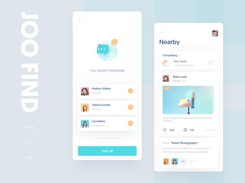 Joo Find 02 ui design clean card weather photo blue color empty layout app
