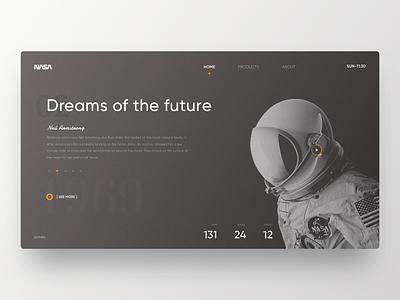 NASA Web layout clean typography web design astronaut black design web