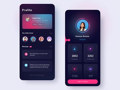 Social App_Dark social chat dark mode card people color dark design app
