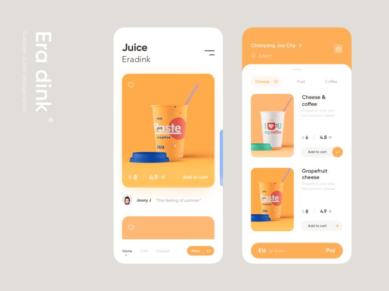 Era Dink cup card juice drink orange color ui design app