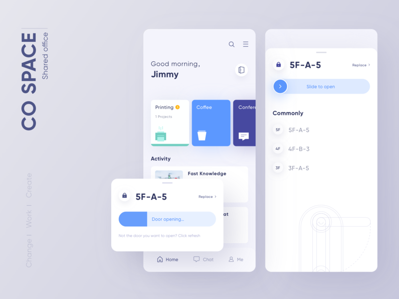 CO SPACE-Shared Office APP mobile blue space office work layout ui clean app design