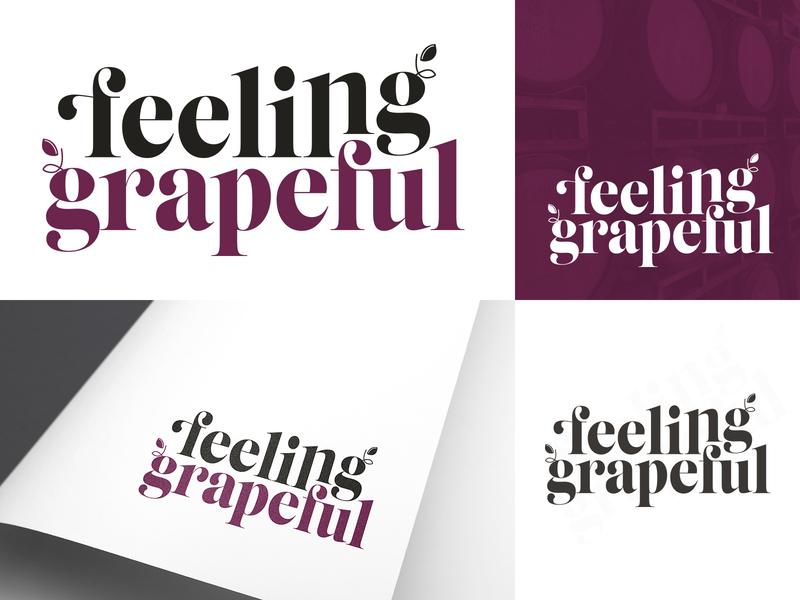 Feeling Grapeful | Logo design concept typography vector wine logo branding