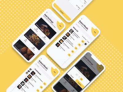 Neighbor cooking app: multiple screens add settings preparation location neighborhood service timer order food order list yellow ios12 react native adding flow food cooking app design ux ui