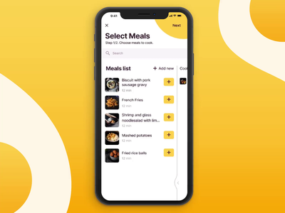 Neighbor cooking app: configuration of the cooking list