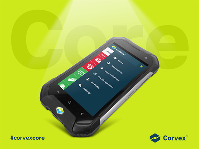 Corvex Core depth lighting mobile mockup corvex core social
