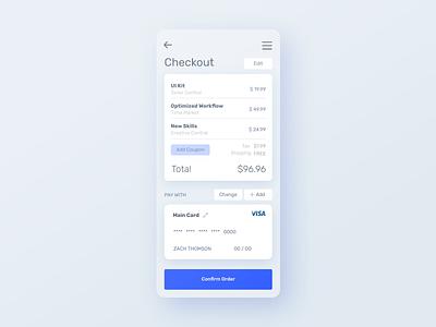 Checkout - InVision Studio Test blue clean minimal design inspiration practice ui