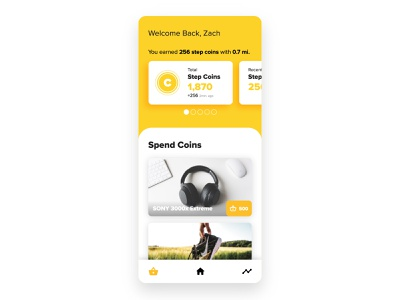 Sweat Coins - Ui Practice mockup app daily ui uiinspiration tracker coins shop ux mobile rounded clean negative space black and yellow warm typogaphy color design practice ui