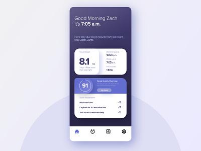 Sleep Tracker App - UI Practice ui  uidesign tracker sleep rounded purple practice minimal inspiration design dark dailyui color clean blue app