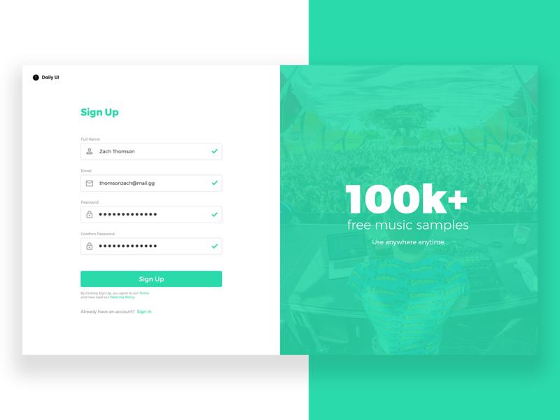 Daily UI #1 - Sign Up sharp mint green mint desktop log in login sign up signup practice minimal inspiration design dailyui clean