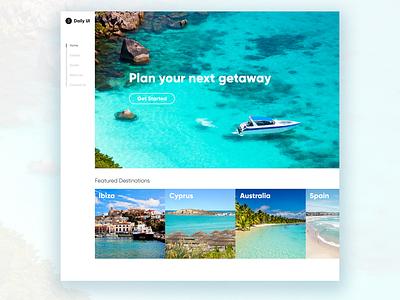 Daily UI #3 - Landing Page travel vacation destination adventure getaway summer water beach ocean uxdesign ux uidesign ui practice minimal inspiration design dailyui