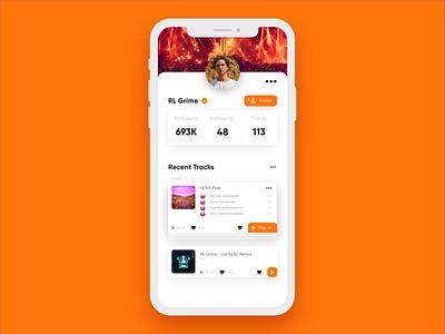 Daily UI #4 - User Profile user profile soundcloud music orange uxdesign ux uidesign ui practice minimal inspiration design dailyui clean app