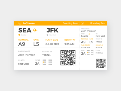 Daily UI #6 - Boarding Pass
