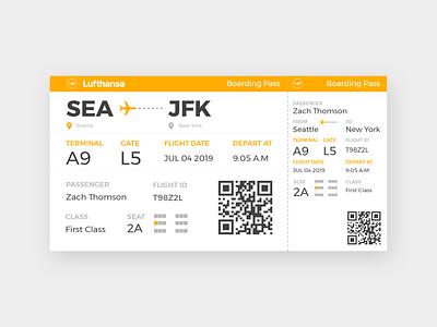 Daily UI #6 - Boarding Pass qrcode negativespace minimal clean inspiration practice uxdesign uidesign ux ui plane fly flight orange ticket boardingpass dailyui
