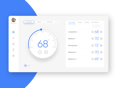 Daily UI #7 - Dashboard interface minimal uxdesign uidesign smarthome thermostat temperature blue ux ui dailyui dashboard
