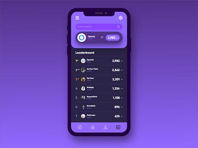 Daily UI #8 - Leaderboard rounded corners rounded uxdesign uidesign ux uiux ui app purple dark ui dark app dark leaderboard