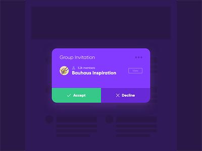 Daily UI #11 - Group Invite uxdesign uidesign uiux ux ui dark app dark ui purple dark practice inspiration groupinvite invite group dailyui
