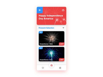 Daily UI #12 - Fireworks mobile selection store celebration fireworks red blue dailyuichallenge america independance july4 ux uiux dailyui ui