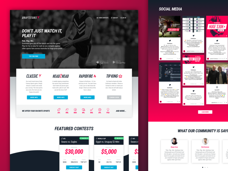 Draftstars - Landing Page ui design australia sports betting sports landing page webdesign website