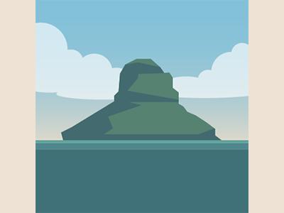 Mokoli'i Island, Hawaii tropical day landscape island illustration illustrator vector