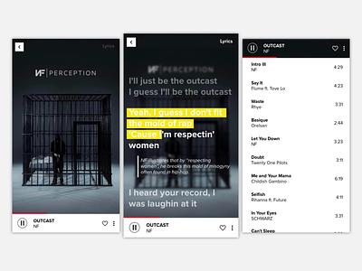 Music Player typography ux app ui design