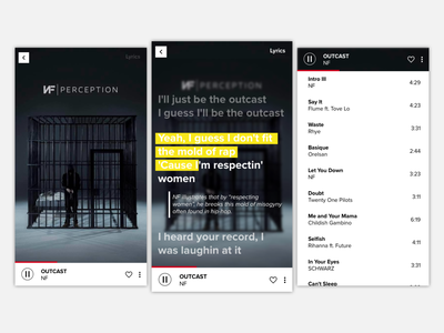 Music Player typography ux app ui design