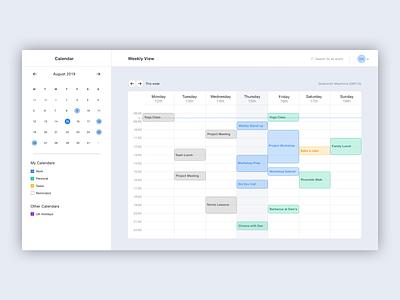 Calendar Application desktop app ui design