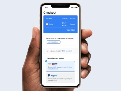 Mobile Cart/Checkout Page mobile app ui ux minimal mobile ui mobile checkout cart shop web shop checkout form checkout page checkout process payment payments paypal discount shopping cart