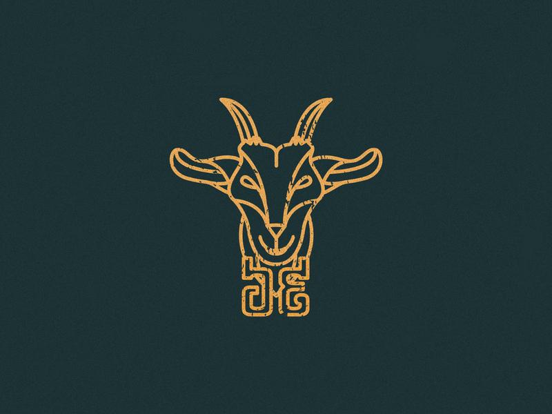 Goat Logo yellow design vector branding illustration logo