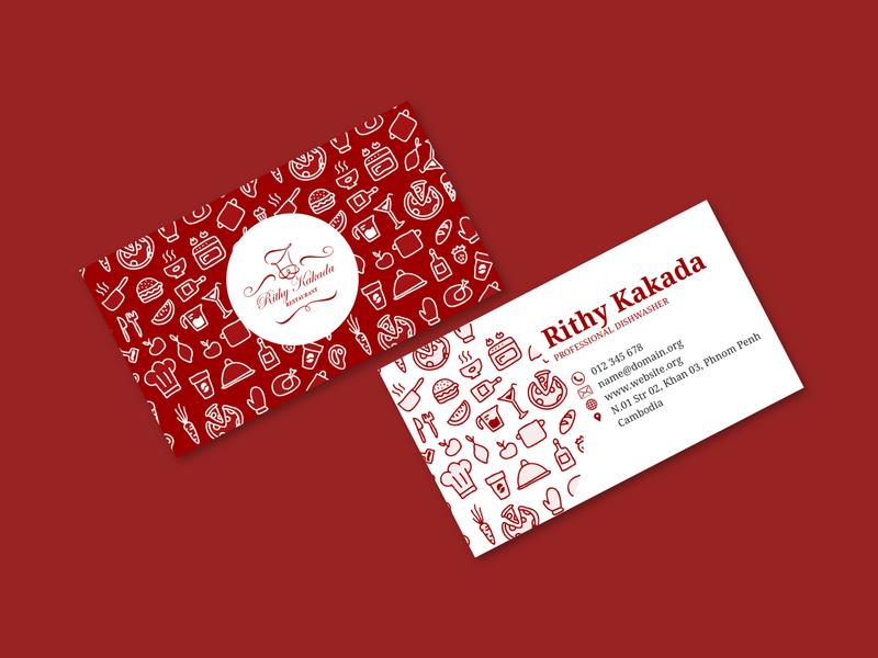 Restaurant Business Card stationery red namecard businesscard vector contrast branding illustration flat typography design
