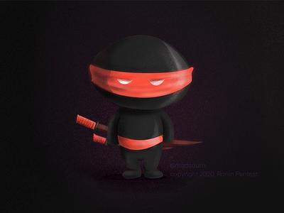 Ninja mascot nlack red digital design ninja mascot